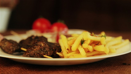 Traditional middle eastern food, shawarma with garnish.