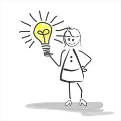 Frau präsentiert eine Idee, einen Einfall - Glühbirne