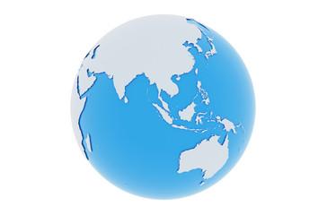 Erde Asien Australien - hellgrau blau