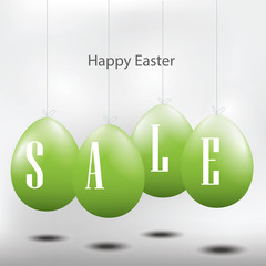 Easter sale sign with green eggs