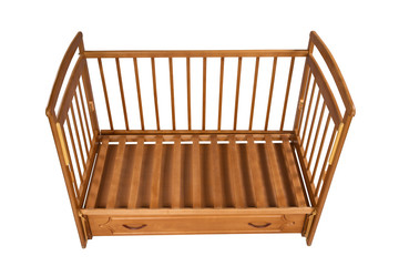 empty wooden cot without mattress isolated on white background