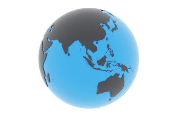 Erde Asien Australien - dunkelgrau blau