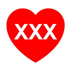 Icono texto XXX en corazon