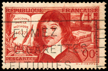 Stamp printed in France shows Descartes