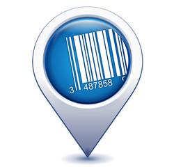 code-barres sur marqueur géolocalisation bleu