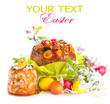 Easter cake and colorful painted eggs. Easter holiday food