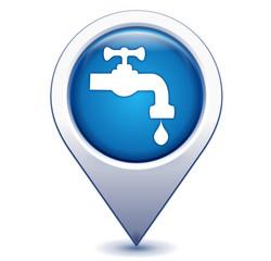 robinet point d'eau sur marqueur géolocalisation bleu