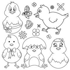 Easter Cartoon Chicken Line Art Set