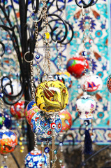 Colorful turkish crockery souvenirs at street bazaar in Istanbul