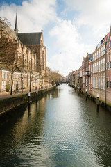 Picturesque canal houses in the Netherlands