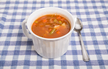 White Mug of Vegetable Beef Soup