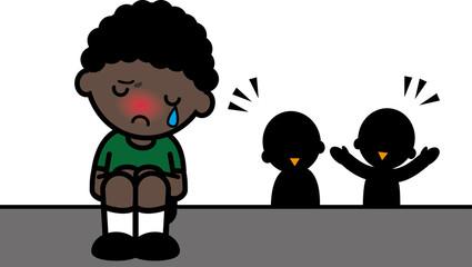 孤独な黒人の男の子