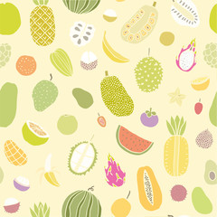 Tropical fruits seamless pattern.