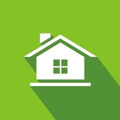 Icono casa ventana verde sombra