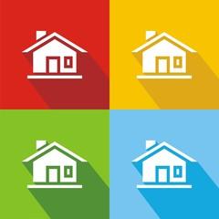 Iconos casa puerta colores sombra