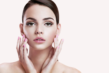 Beauty face of beautiful woman with clean fresh skin