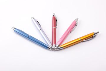 Ballpoint pens on table