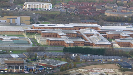 Wide aerial view of HM Prison Holloway in London