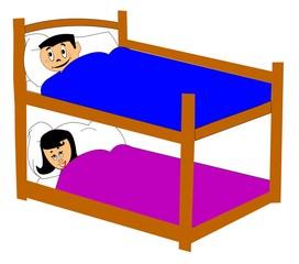 kids in bunk beds