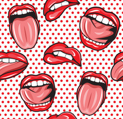 pop art lips with tongue seamless vector pattern