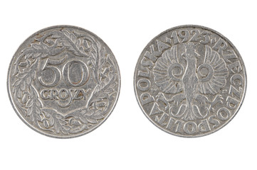 Old coin of Poland.50 groszy of 1923.