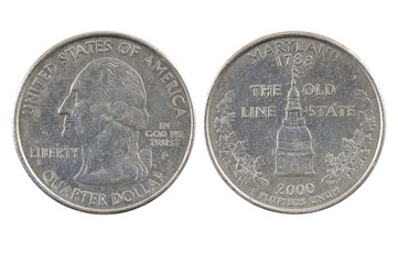 American one quarter dollar coin.
