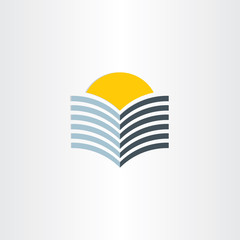 book and sun abstract icon