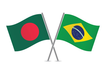 Bangladesh and Brazilian flags. Vector illustration.