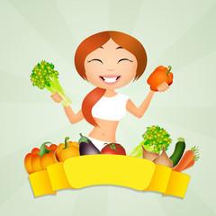 girl buys vegetables