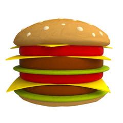Cartoon hamburger made from plasticine or clay.