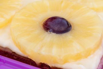 Hawaii-Schnitten mit Ananas und Traube macro