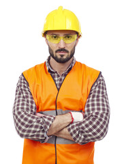 Carpenter with hardhat and protective glasses
