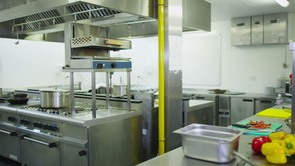View around an empty commercial kitchen
