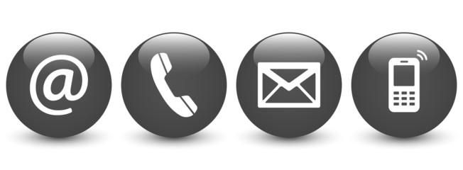 Set of dark gray glossy ball icons – Contact Us