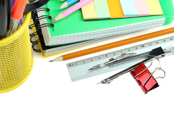 school supplies on a white background isolated