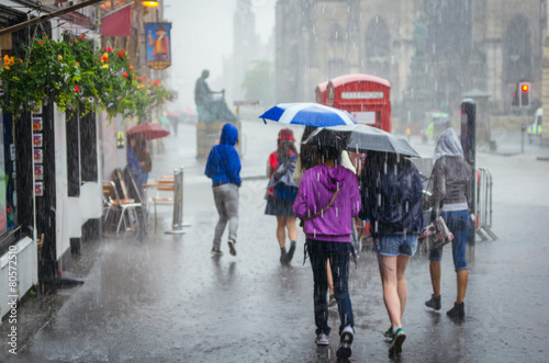 Group of girls walking at summer rain in the city - 80572510