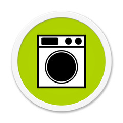Runder grüner Button: Waschmaschine