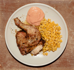 grilled chicken with corn and hot sauce