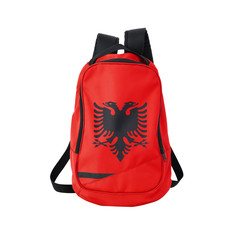 Albania flag backpack isolated on white