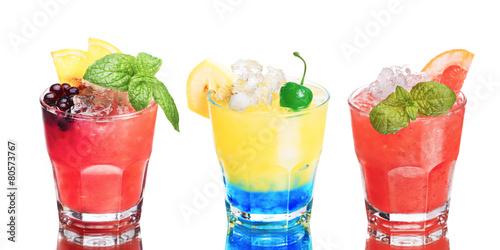 Set of summer alcoholic cocktails isolated on white