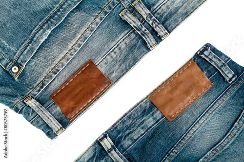 Two  jeans ,on white background.