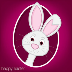 Easter bunny and egg card in vector format.
