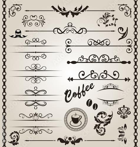 Set floral ornate design elements (7)