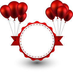 Award red ribbon background with balloons.