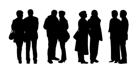 people standing outdoor silhouettes set 28