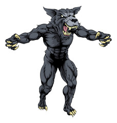 Wolf man with claws out