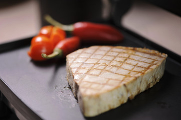 Tuna steak on grill