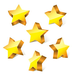 3d golden little bright stars set with variations