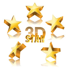 3d golden star set