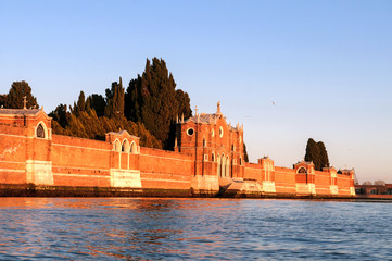 View of cemetery Isola di San Michele - island of Venice Italy